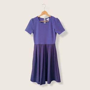 LuLaRoe Amelia Color Block Fit Flare Dress Purple